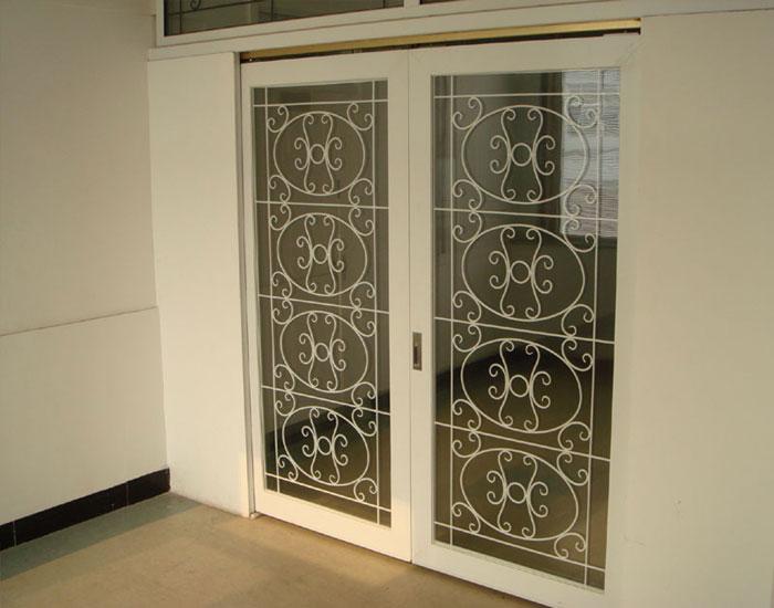 1.Wrought iron glass panel